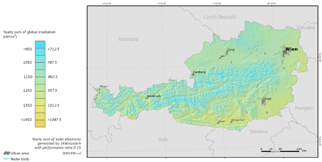 horizont Globalstrahlung | Photovoltaik Österreich