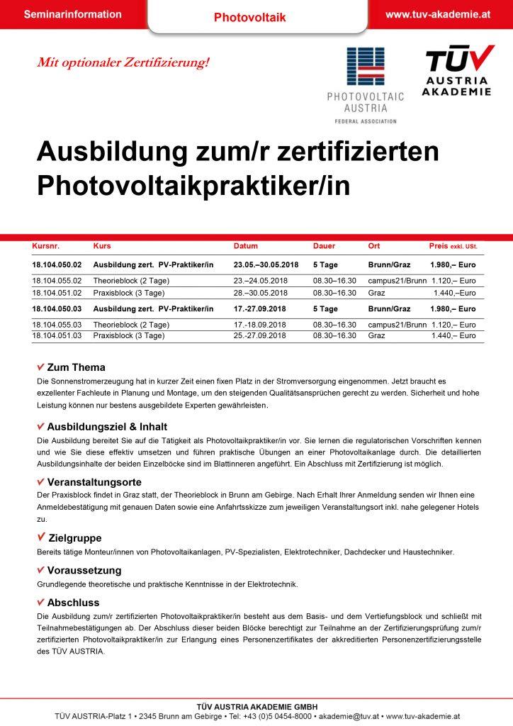 Lehrgang PV Praktiker 2018 Infofolder DB 724x1024 1 | Photovoltaik Österreich
